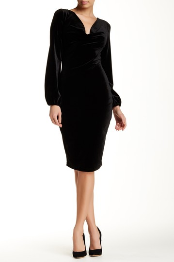 Alexia Admor-Cowl Neck Cuff Sleeve Velvet Dress