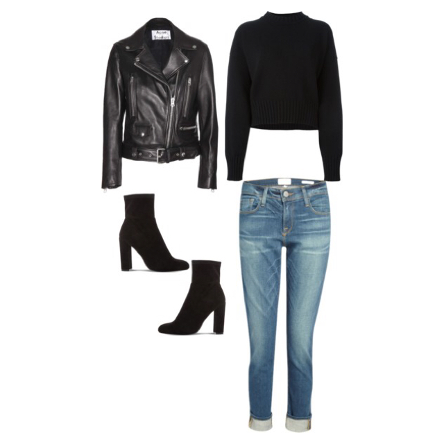 Sweater:Jill Sander Jeans:Frame Denim Ankle Boots:Steve Madden Leather Jacket:Acne Studios