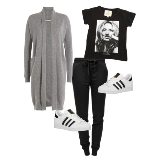 Sweatpants:Alexander Wang Graphic Tee Shirt:Little Eleven Paris Cardigan:Vince Sneakers:Adidas Originals Superstar