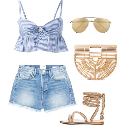 Denim Shorts (lancecrawdford.com); Crop Stripes Ruffle Top (brownsfashion.com); Gladiator Sandal (shopaa.com); Ark Bag (another20.com); Sunglasses (veryexclusive.co.uk)