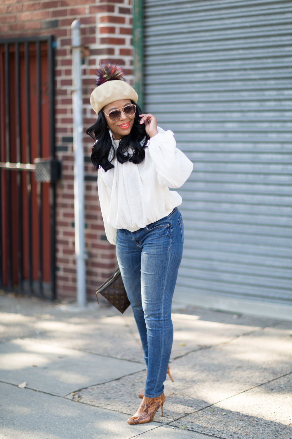 Beret ( Forever 21)  | Blouse  (H&M ) | Jeans (old) | Boots (Zara) Old