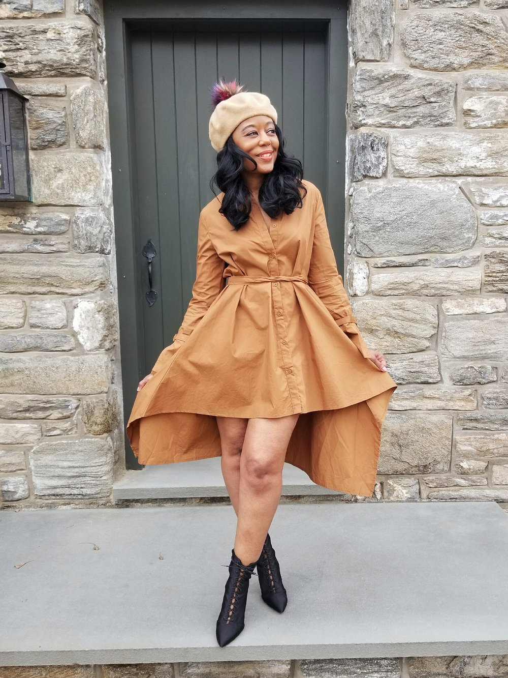Dress( Eve Lawrence Boutique ) | Booties( Chicopolitan ) | Beret(Forever21) | Sandals(old)