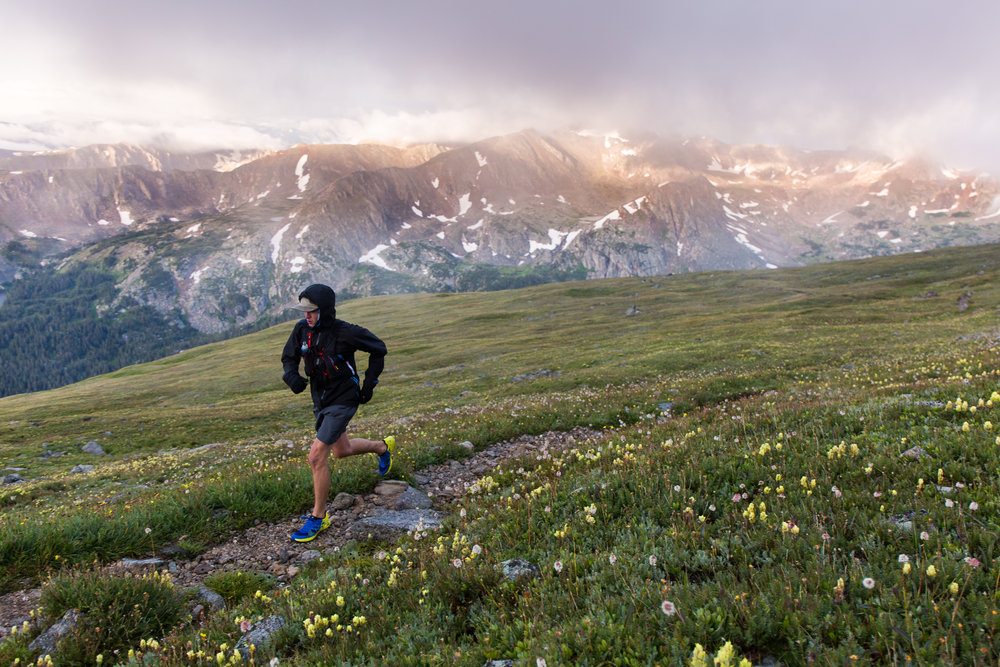 Evan Valencia mid-run up South Arapaho Peak in Indian Peaks Wilderness.