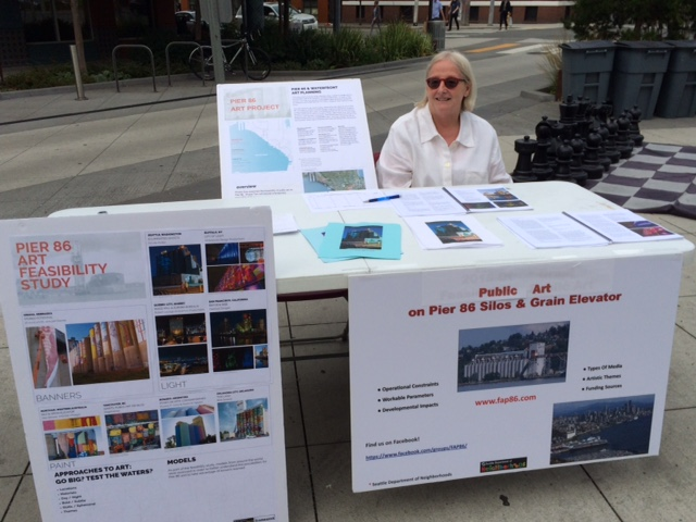 Steering Committee member, Jane Savard at FAP86 information table in Belltown!