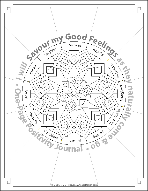 Download  this free, One-page Positivity Journal. Colour in the mandala; use the blank spaces to journal.
