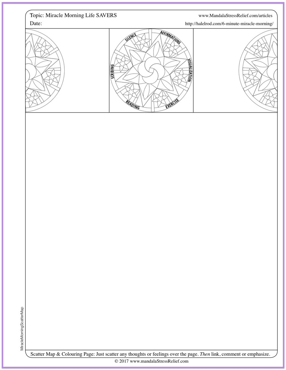 "Download a Miracle Morning ""cheat sheet summary""  in the form of a Scatter Map & Colouring Page you can use to make for your own notes."