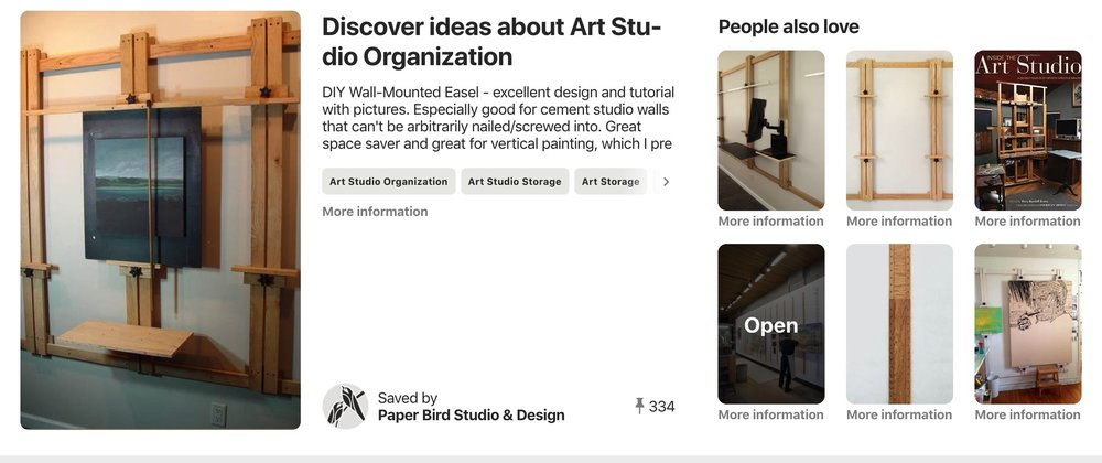 Finally, while looking around for easel links, I came upon this Pinterest page. Looks like a treasure house of easel ideas.