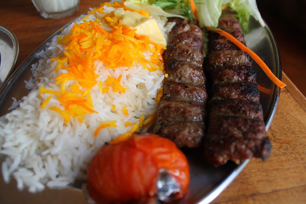 lamb skewers and saffron rice at Patogh