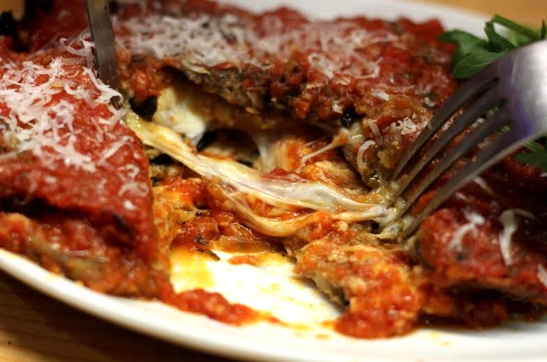 aubergine parmigiana at Agile Rabbit