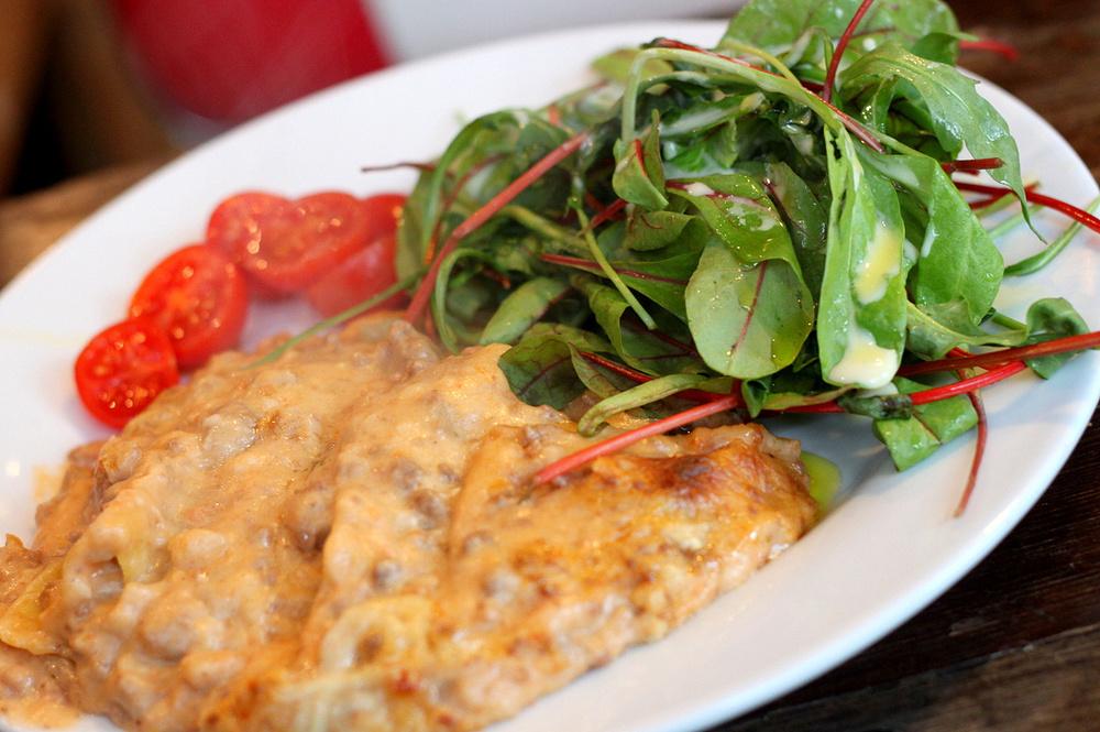 lasagne and side salad at Italo Delicatessen
