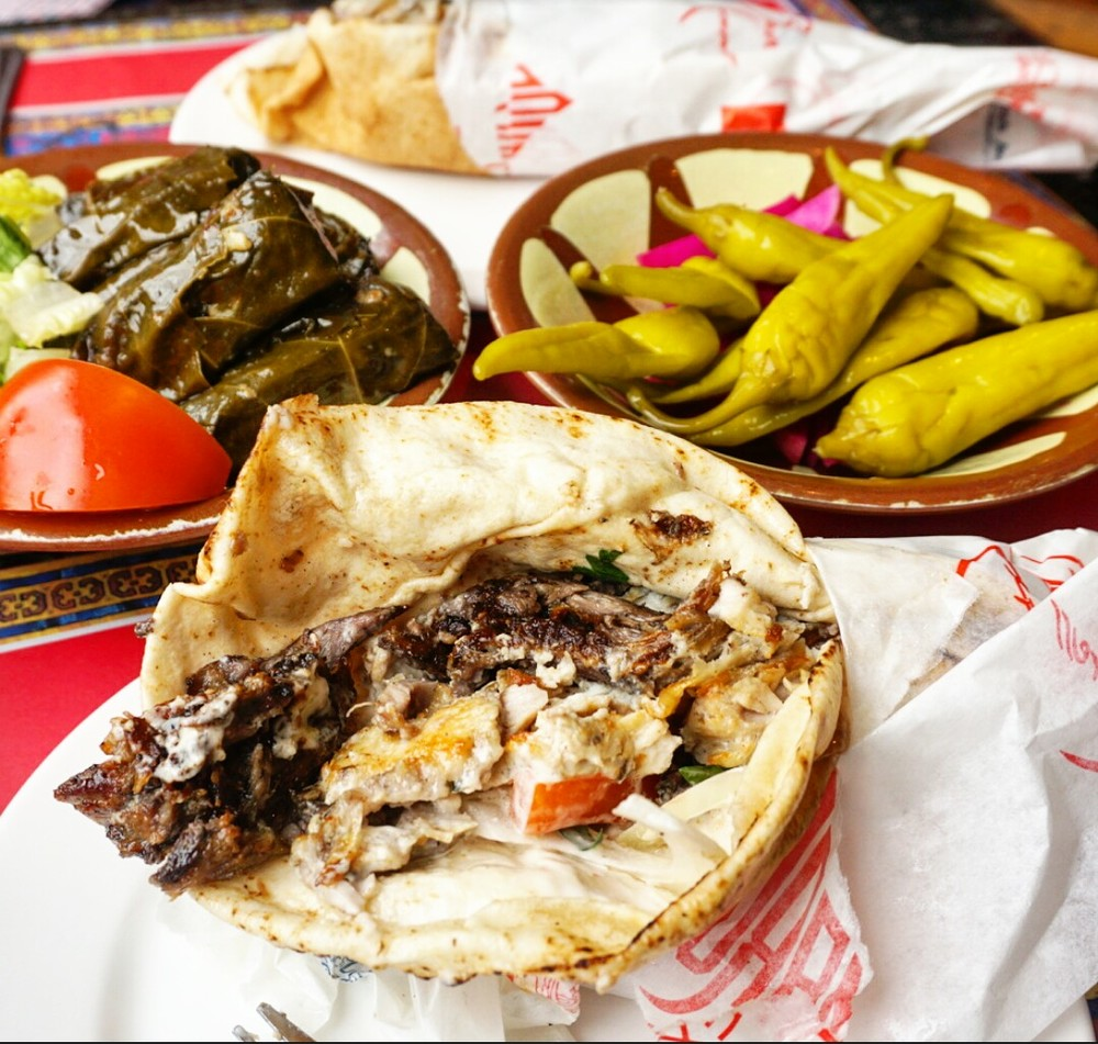 mixed shawarma wrap, dolma and pickles at Maroush Beirut Express