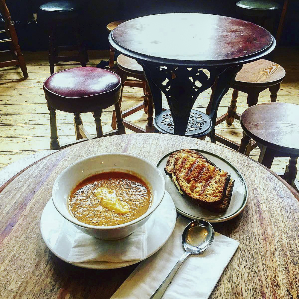 hearty soup and cheese toastie from Camberwell Arms