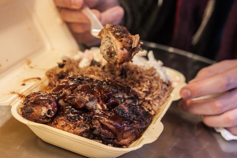 large jerk chicken with rice and coleslaw at JB's Soulfood & Jerk Chicken in Peckham