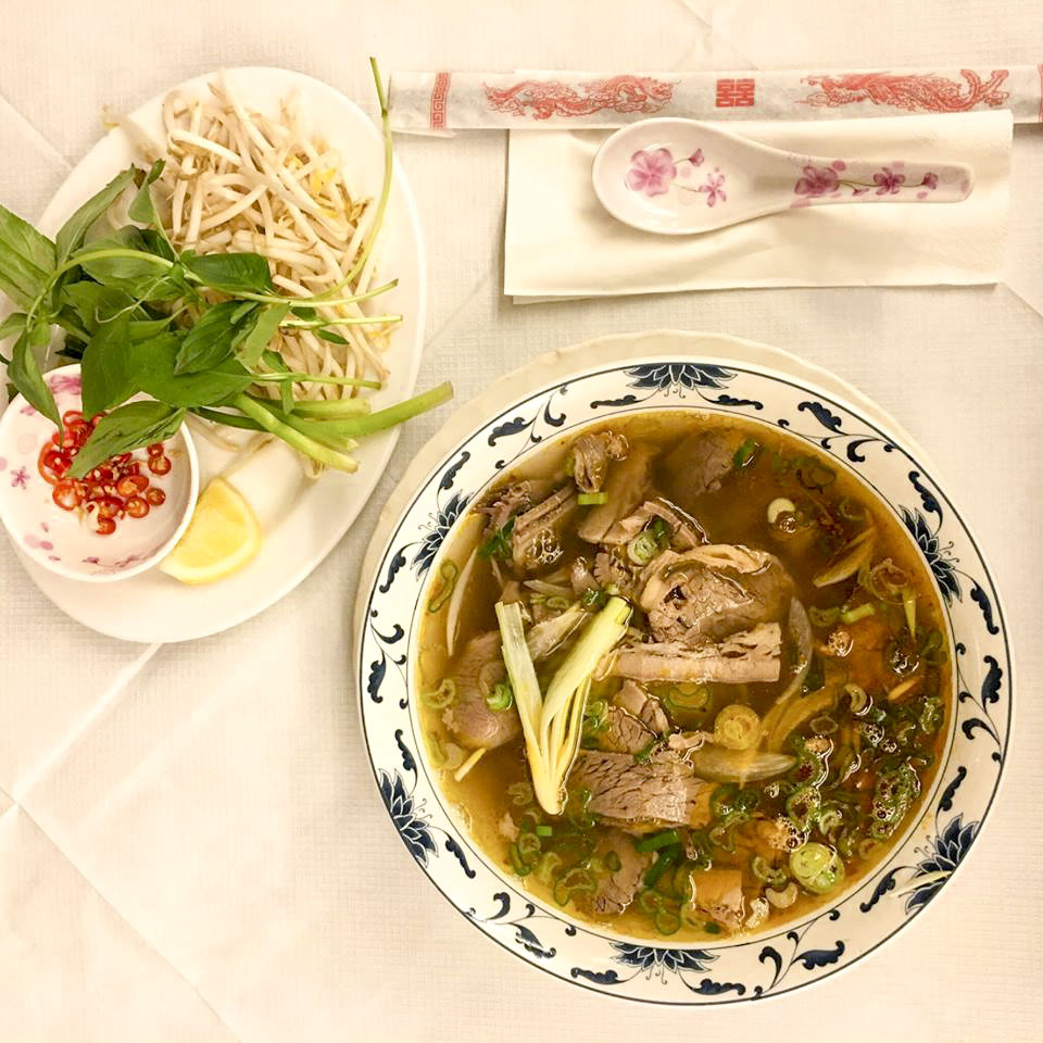 beef pho at Cafe East