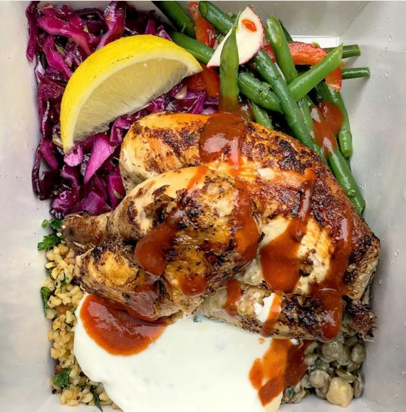 half a chicken with salads, hoummus and yoghurt from Radical Roots