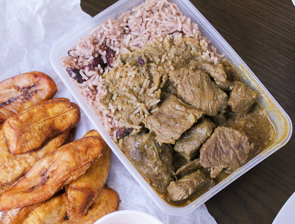 goat curry with rice and a side of plantain, Roti Masters in Croydon