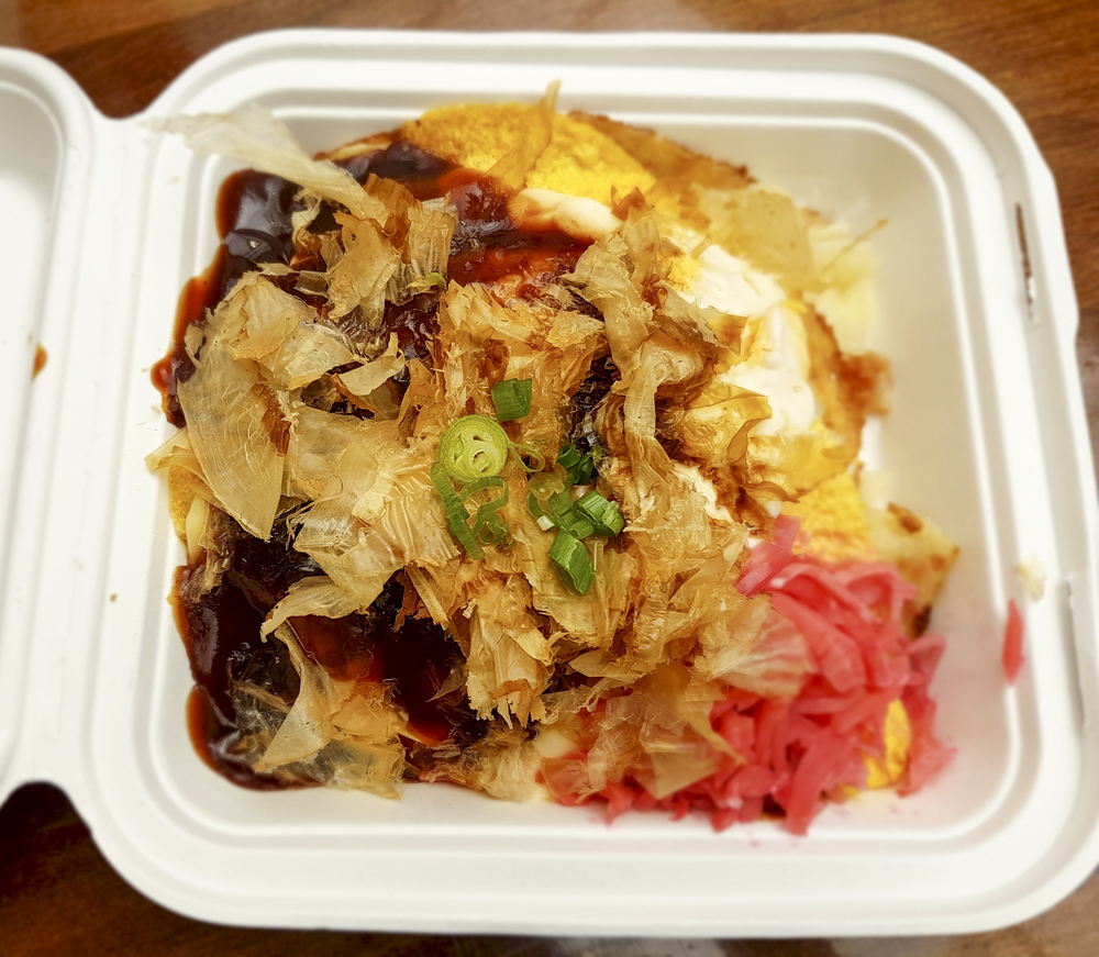 Bacon okonomiyaki from Donburi in Liverpool Street Station Arcade