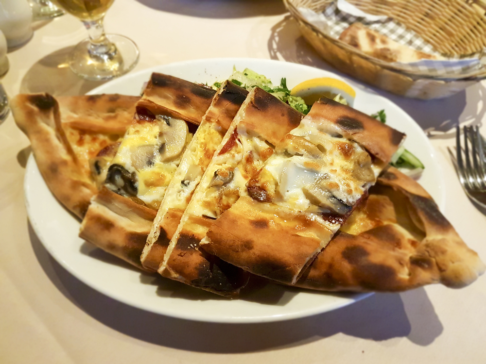 Turkish sausage, egg and mushroom pide from Meze Mangal, Brockley