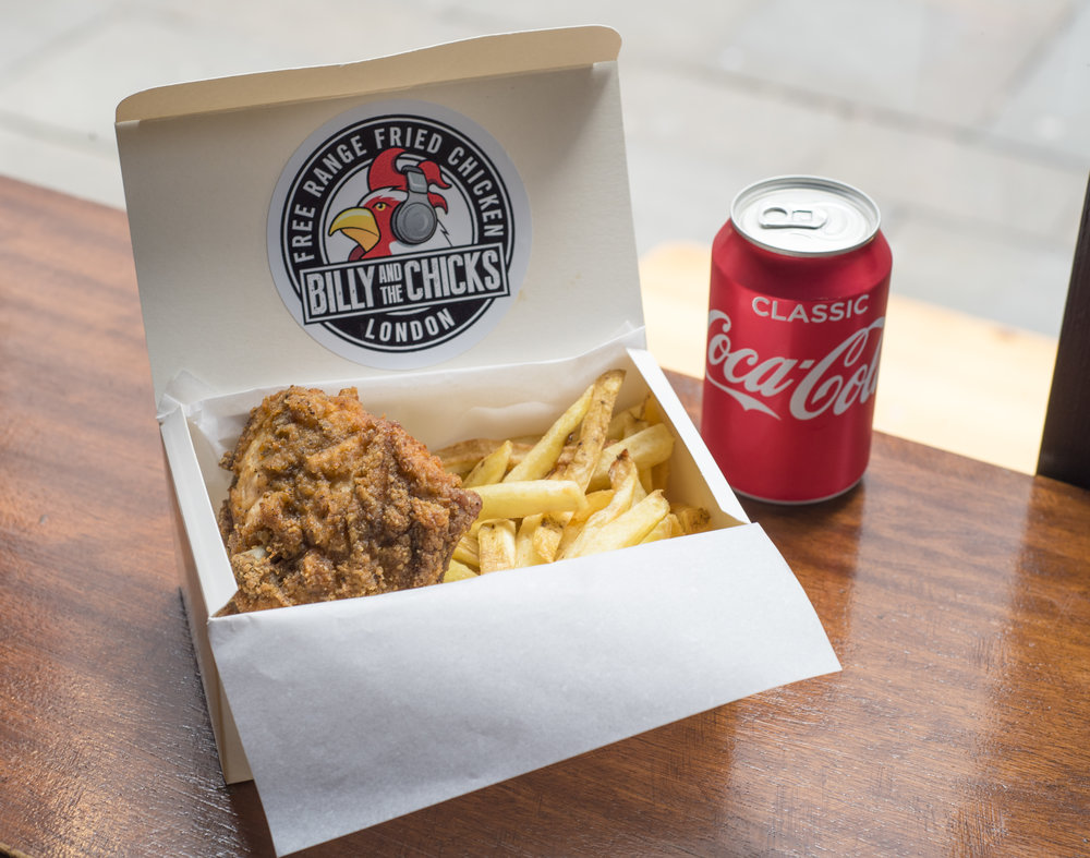 chicken, skin-on fries, and soft drink deal from Billy and The Chicks
