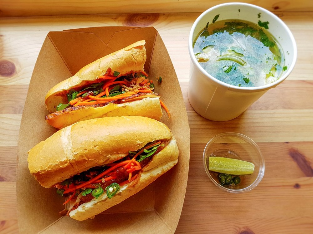 roast pork belly banh mi and chicken pho ay Banh Mi Hoi An, Hackney