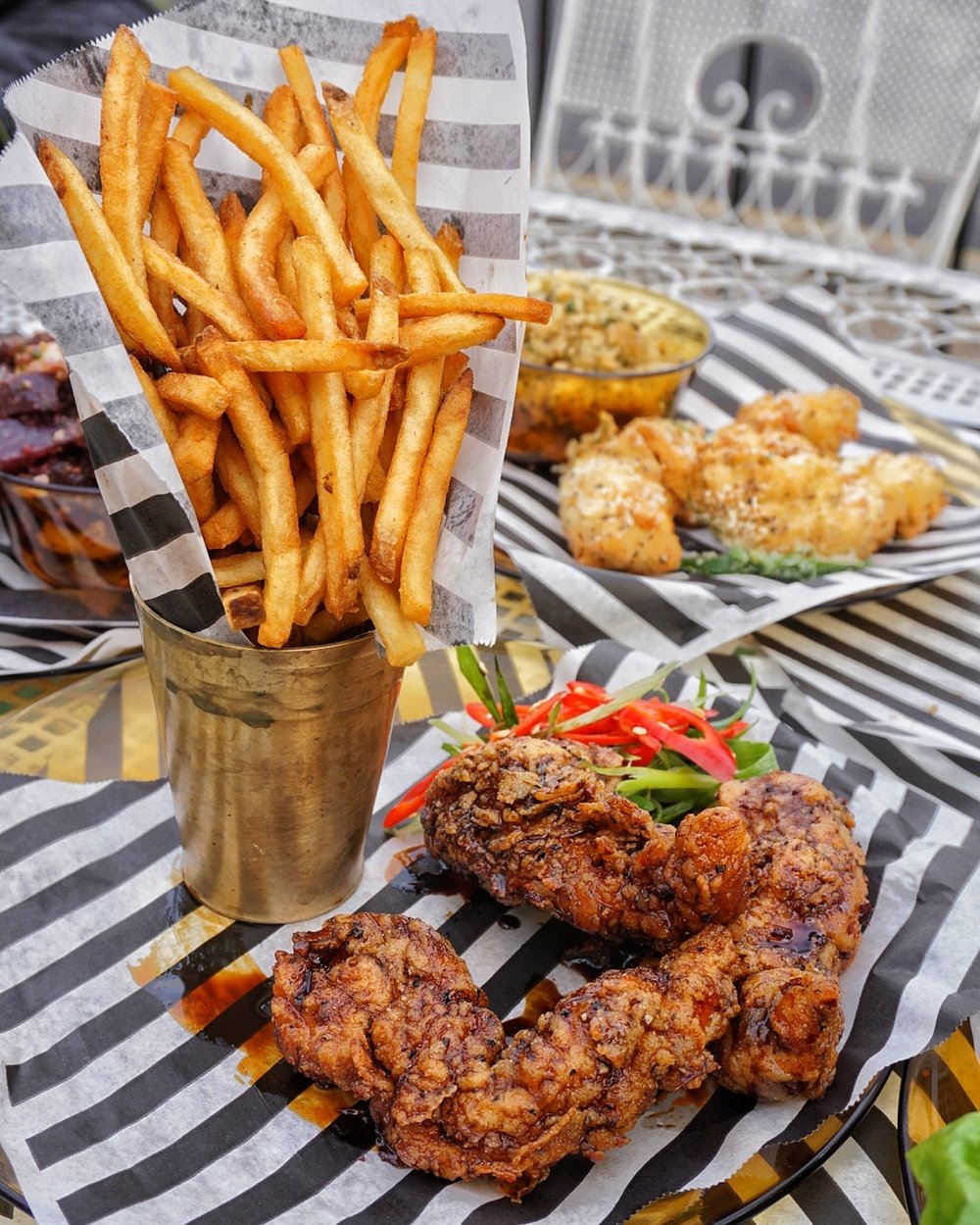 Chicken tenders with side of twice-fried fries