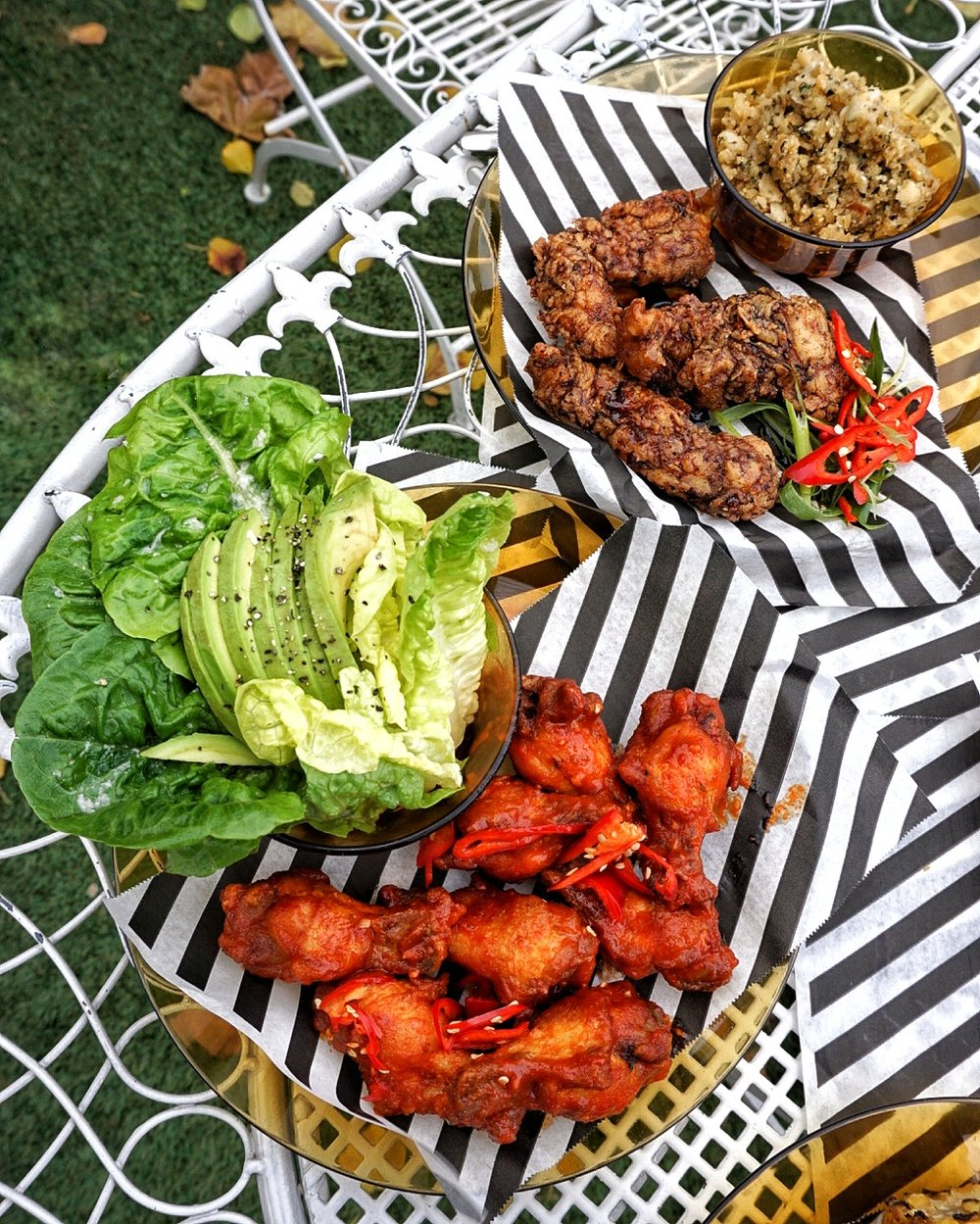 Wings and tenders, with salad and stuffing