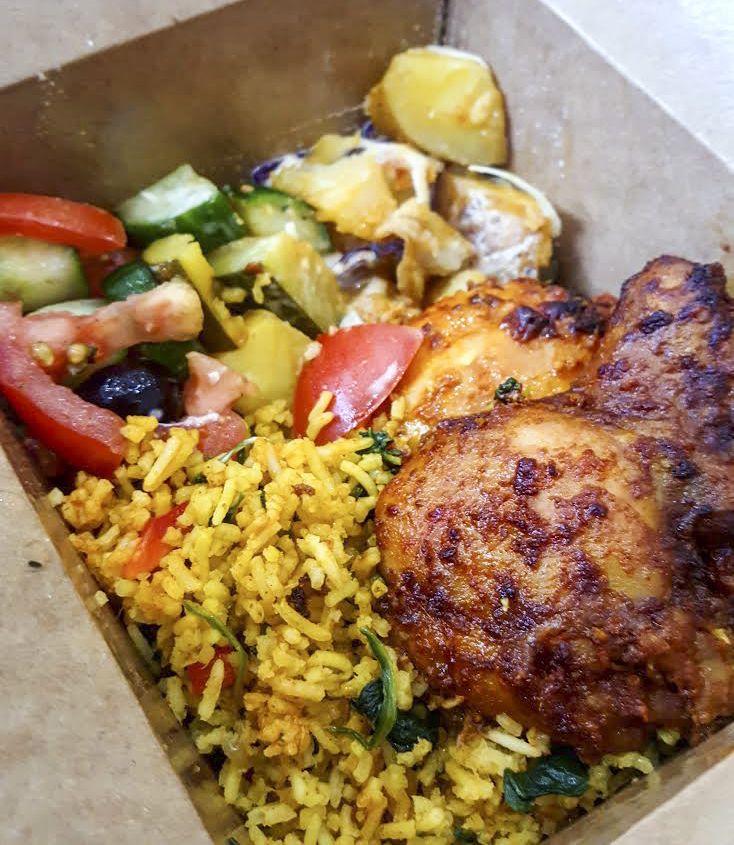 Spicy chicken and three salads from Moma's Healthy Foods, Holloway