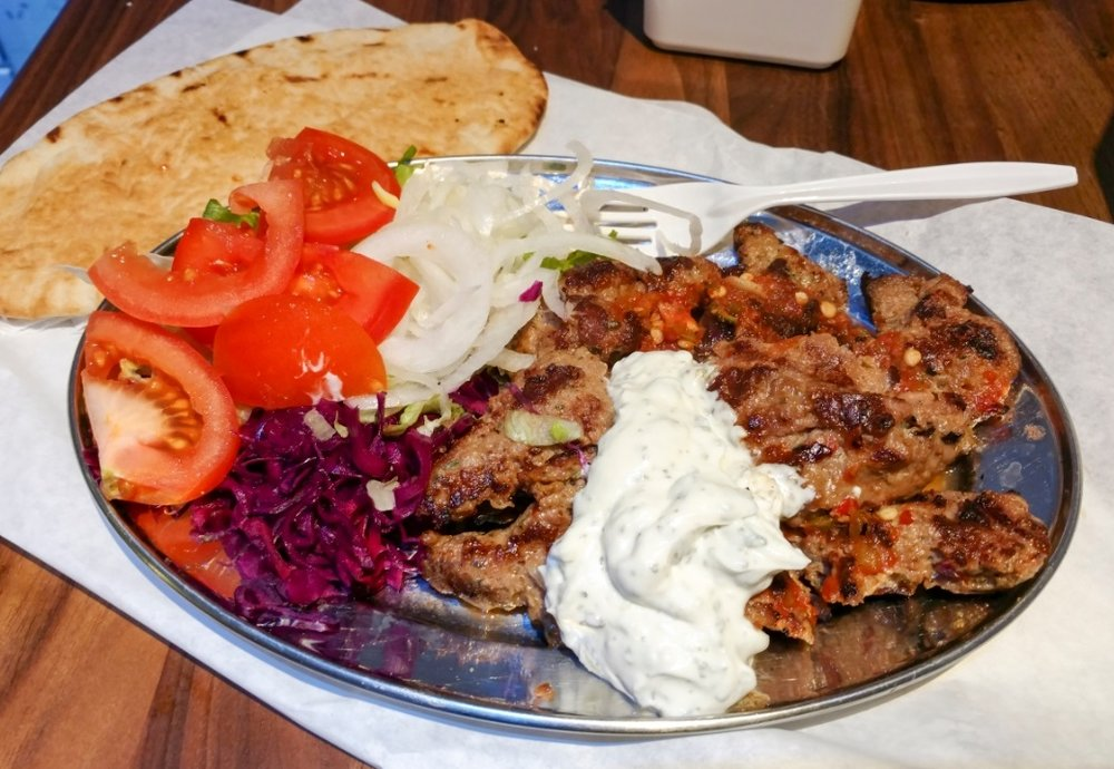 Lamb shish kebab from Bosphorous Kebabs, South Kensington