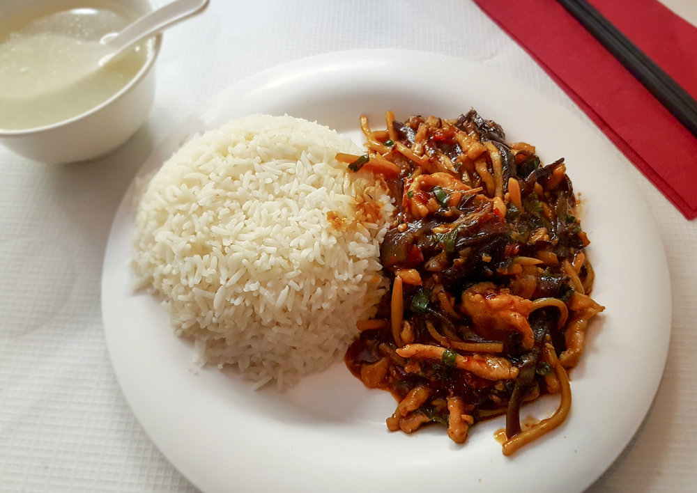 """fish fragrant"" shredded pork with rice, Sichuan Folk"