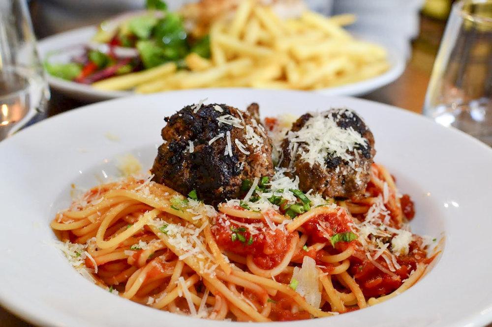 spaghetti with meatballs,Alcedo Bistro & Bar