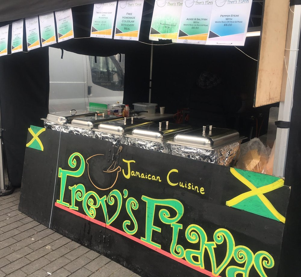 Trev's Flavas street food stall, Swiss Cottage Market