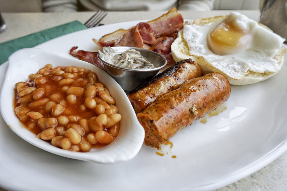 all day breakfast plate from Heap's Sausages, Greenwich
