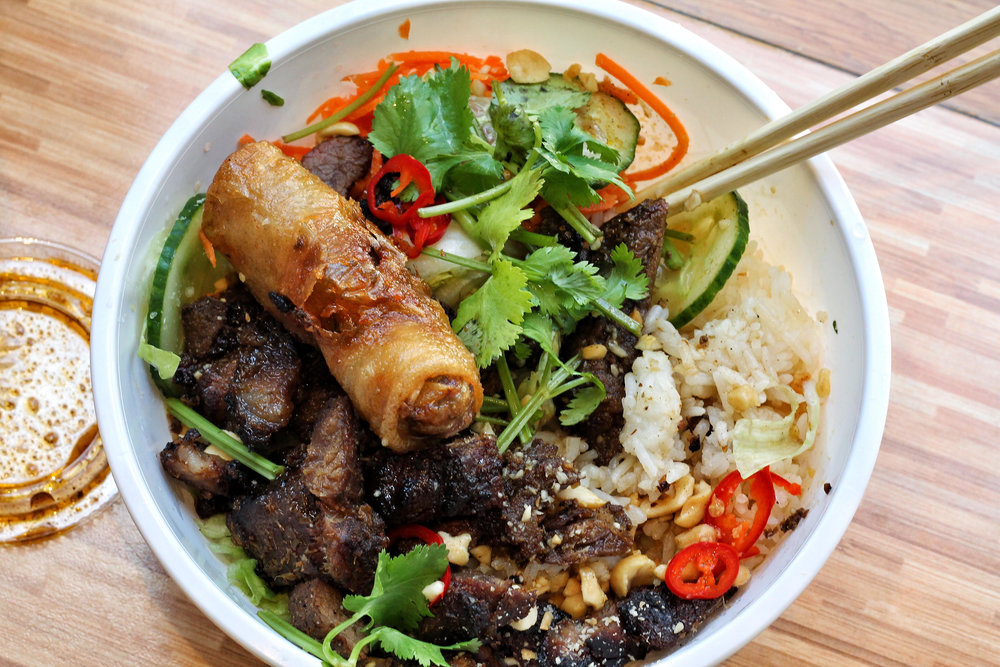 rice bowl with lemongrass pork, Velo in London Bridge
