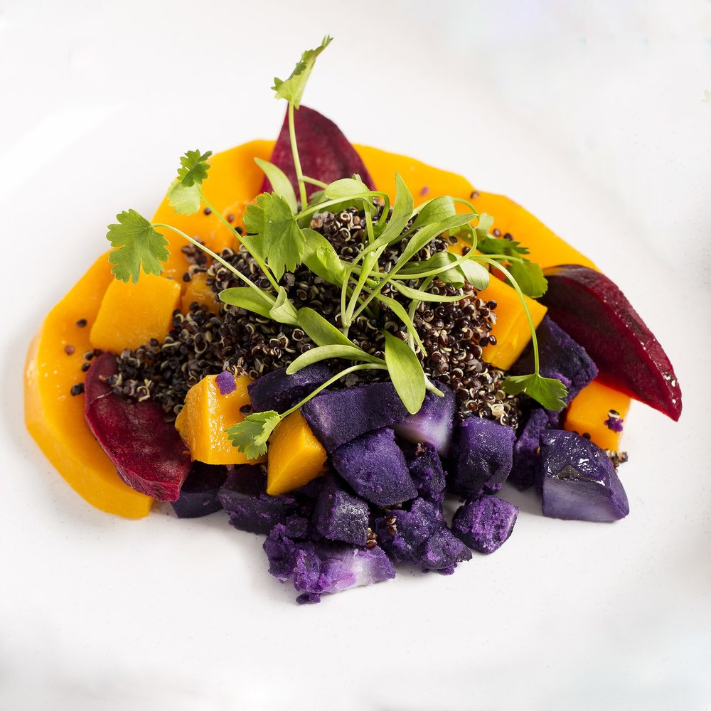kabocha (Japanese pumpkin) and papa morada (purple potato) salad at Waka