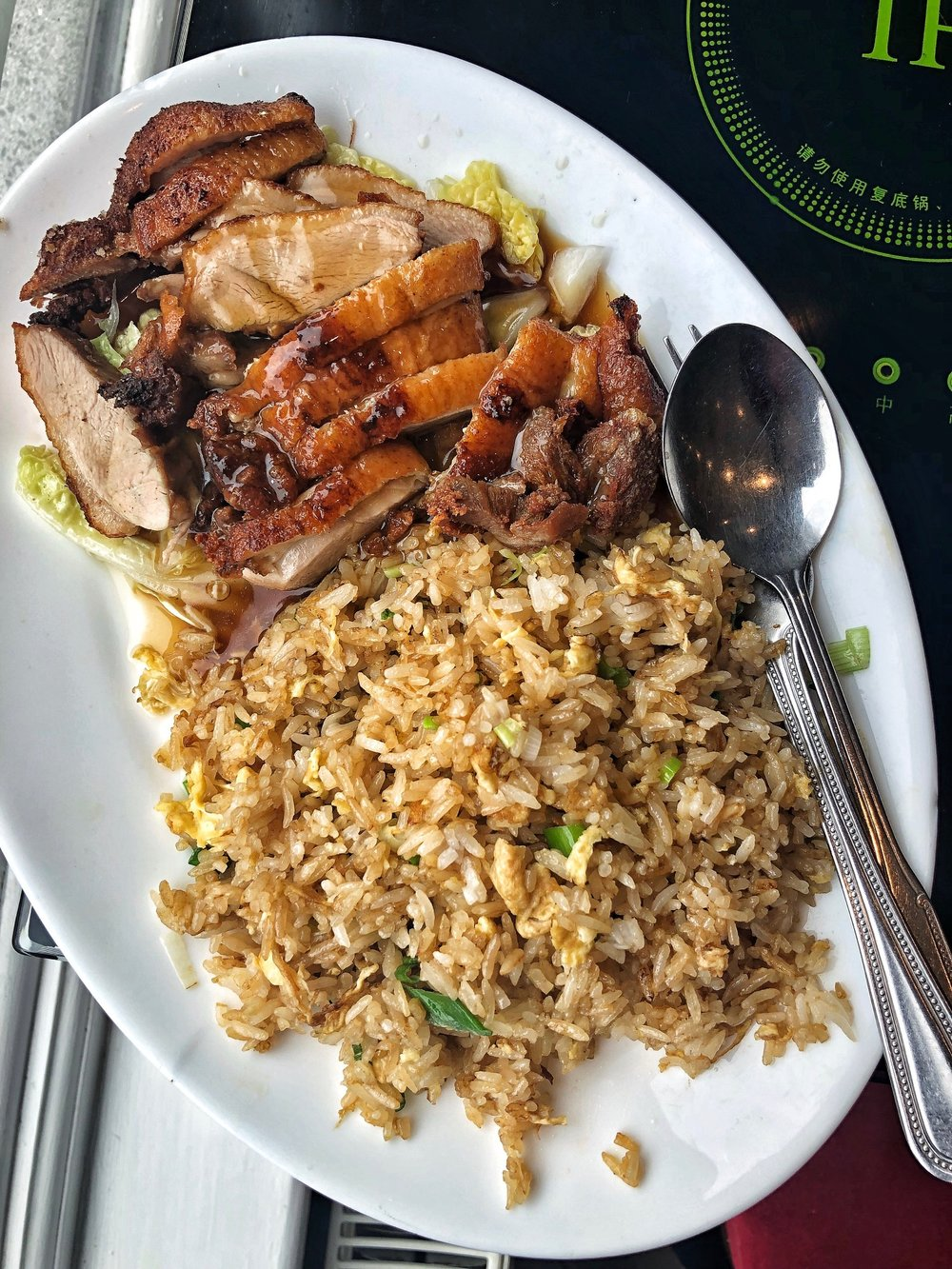 crispy duck and egg fried rice at Little Sichuan