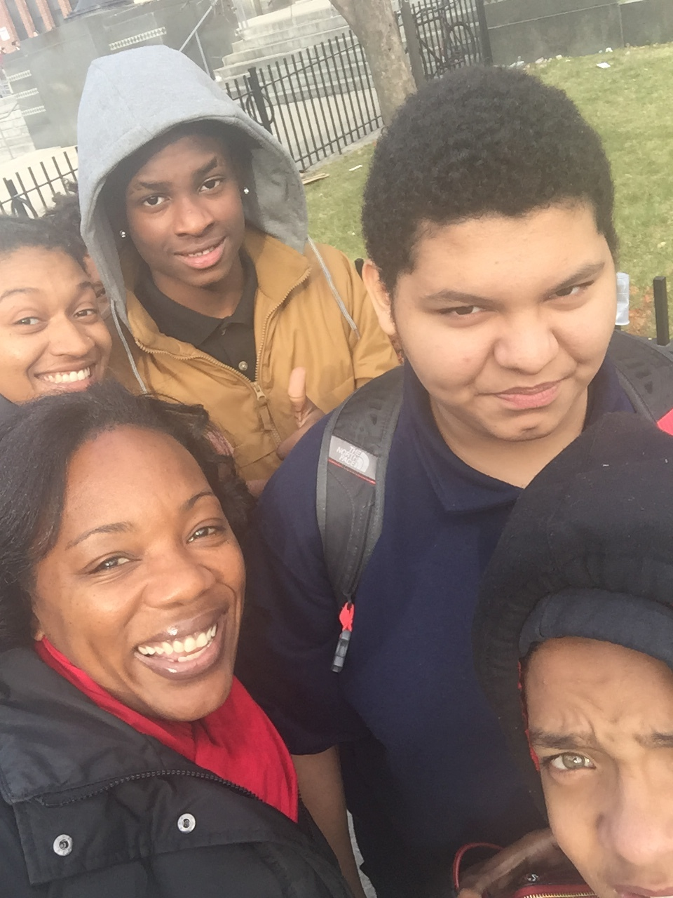A selfie with Ms. Allston,Ms. Jackson and some of their 9th grade advisory students!