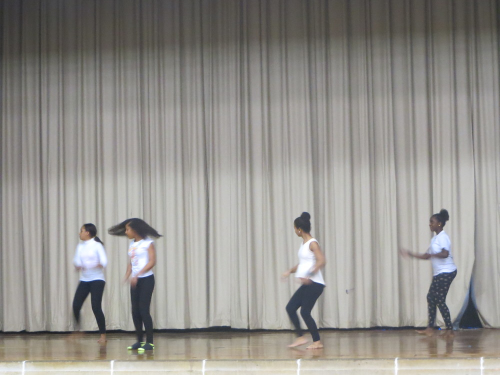 7th graders Carla, Nireida, Ely and Keliane share some of their culture with a traditional Cape Verdean dance!