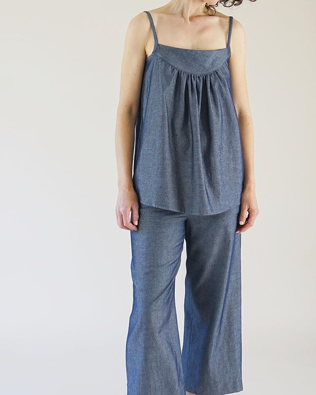 For those days that you want the one-piece look without the one-piece hassle. The Chambray Tank and the Wide Leg Trouser now available on the site! #linkinbio #onepiecedressing #oneanddone #marirozacollection 📷: @_ghost_sf_ | model: Nairi