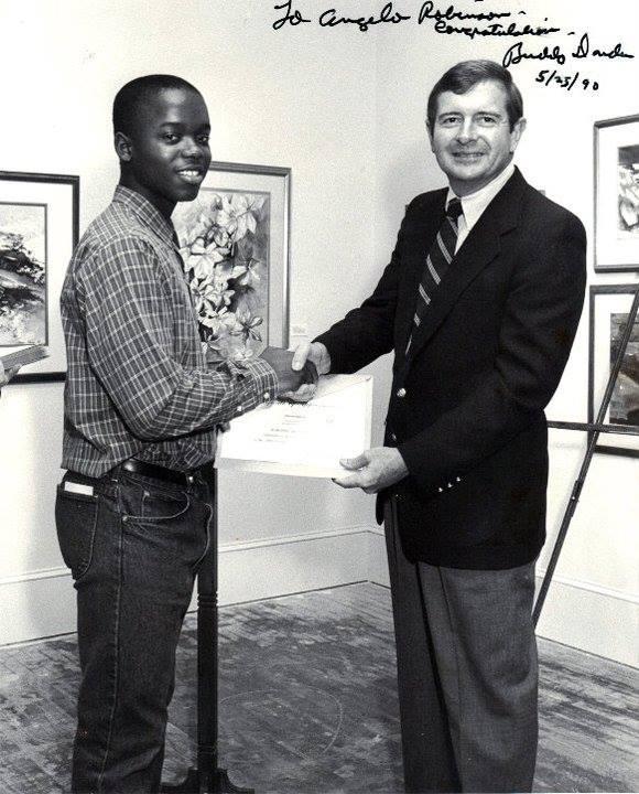Meeting congressman Buddy Darden in 1990.