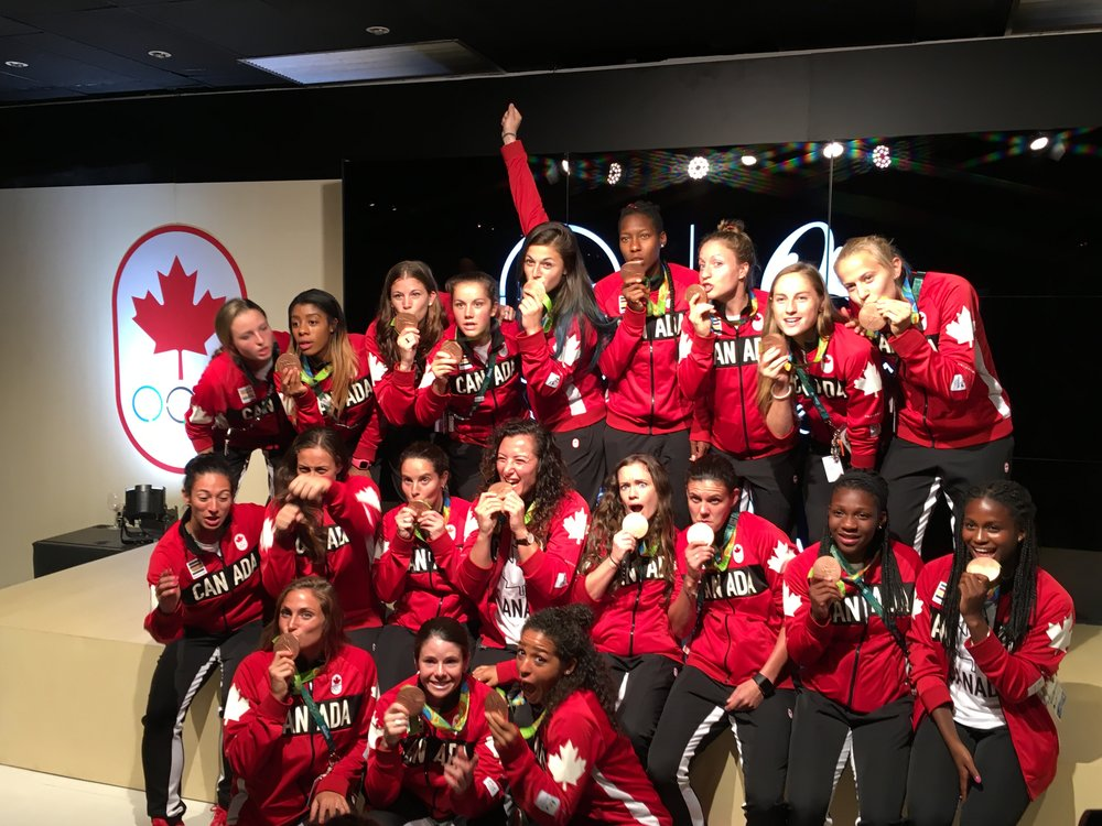 Canada's women's Olympic team at Canada House in Leblon (Rio) - August 20, 2016
