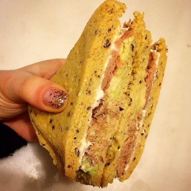 Tuna, Avocado, Cream cheese sandwich