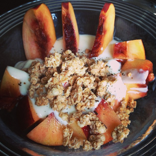 Peach and granola breakfast