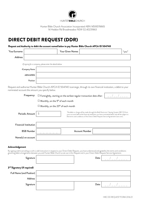 Direct Debit Form