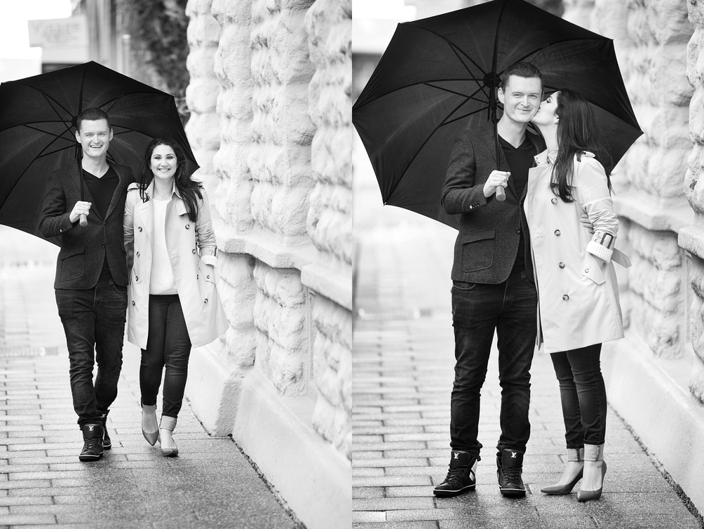 perth engagement photos in fremantle in the rain with umbrella