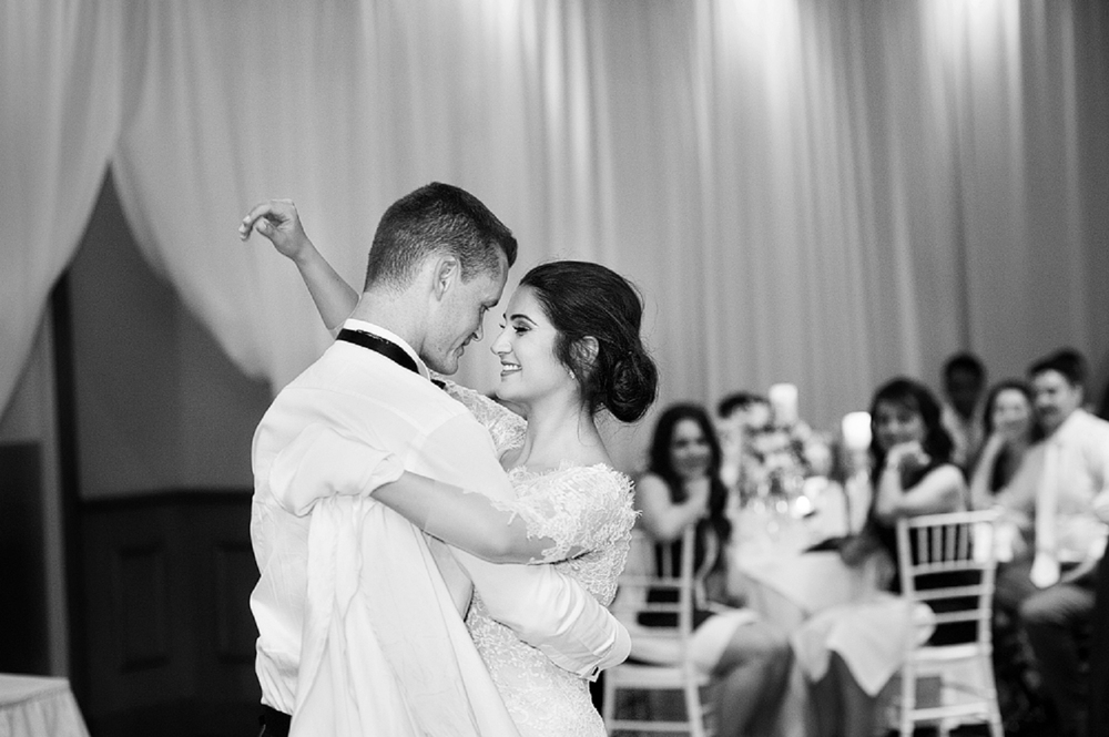 black and white wedding dancing