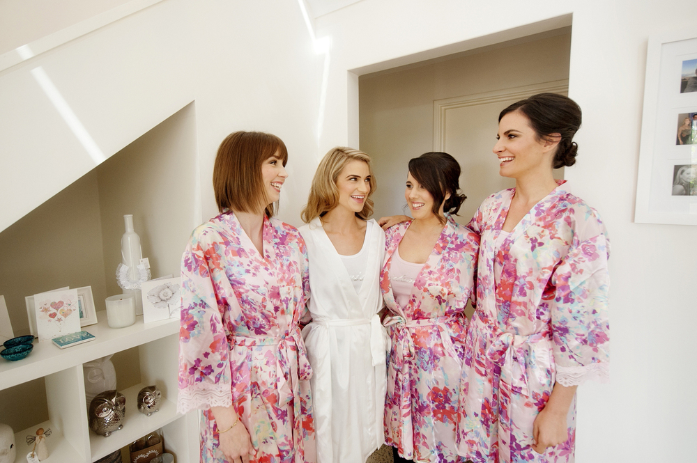 bride and bridesmaids in matching robes perth wedding