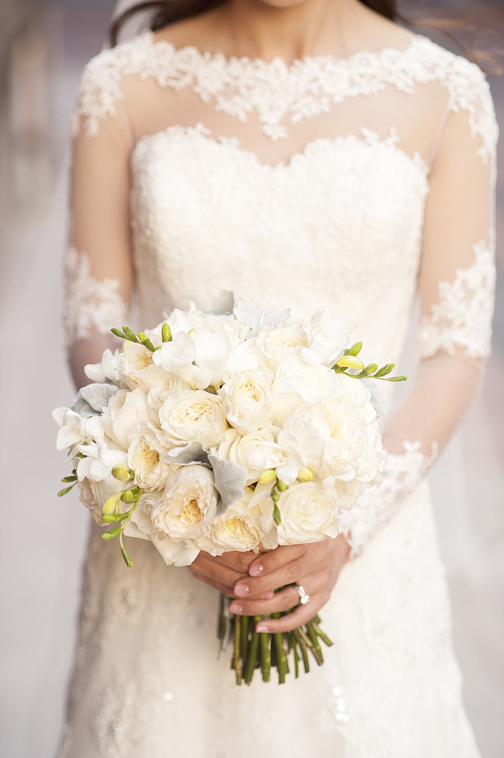 classic white bouquet with long sleeved lace dress perth weddings