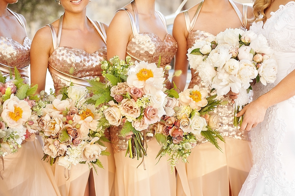 rose gold sequined bridesmaids by galleria couture with natural art mixed bouquets