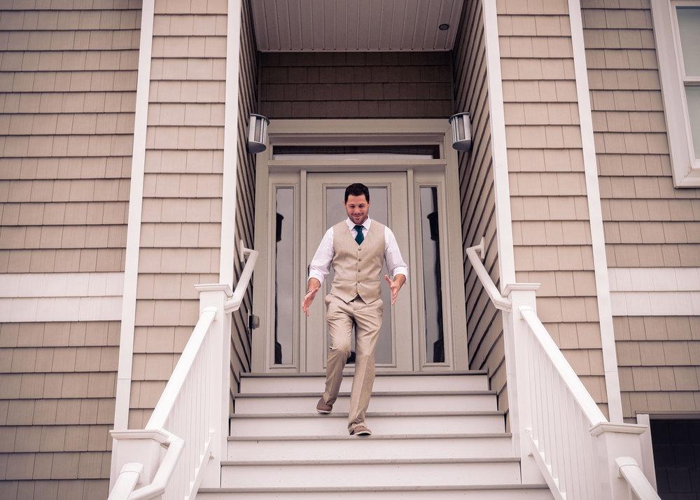 Groom down the steps