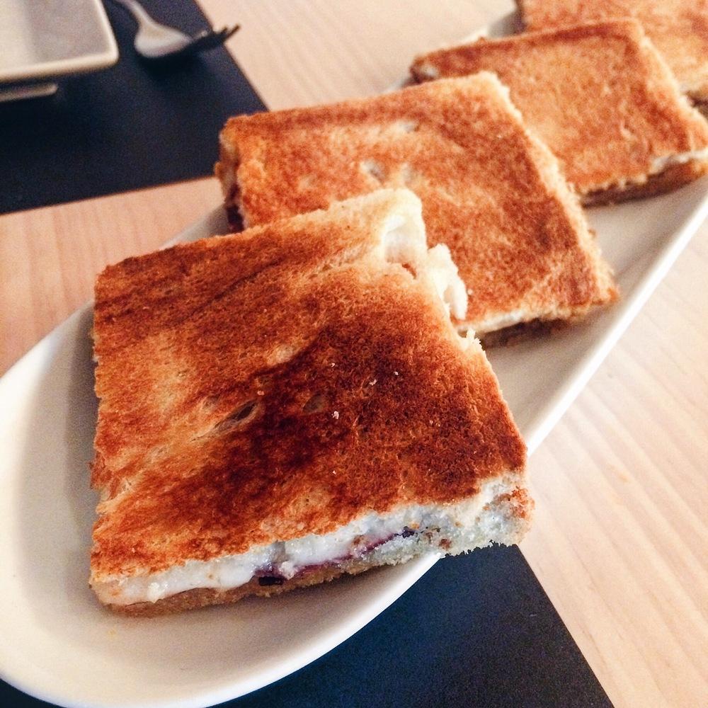 Cheese, ham and truffle bikini (sandwich) at Viblioteca, Barcelona